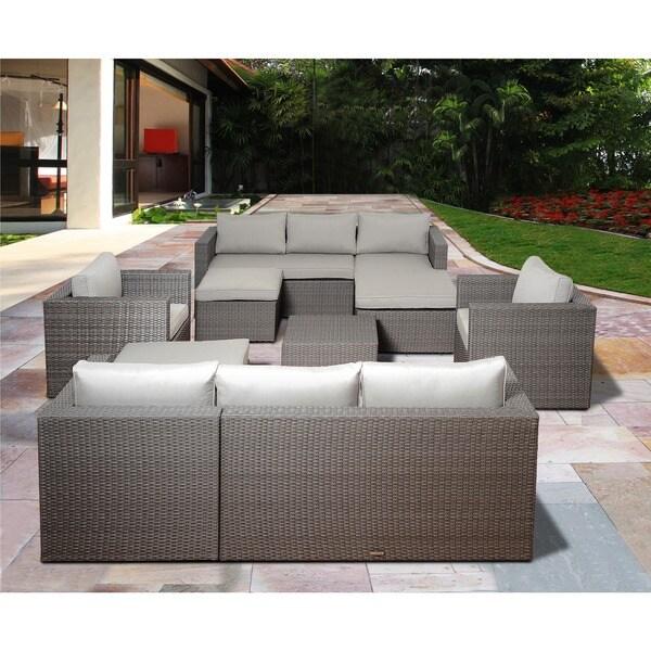 Atlantic Patio Furniture Reviews: Shop Atlantic Pescara 8-piece Grey Synthetic Wicker