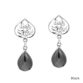 Nature's Love Black Onyx Teardrop Sterling Silver Earrings (Thailand)