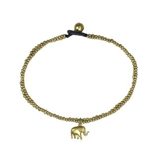 Tribal Thai Elephant Brass Beads Link Ankle Bracelet (Thailand)