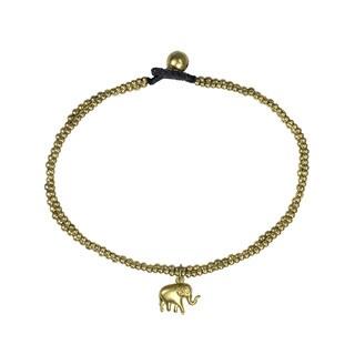 Handmade Tribal Thai Elephant Brass Beads Link Ankle Bracelet (Thailand)