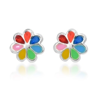 Handmade Colorful Summer Flower .925 Silver Stud Earrings (Thailand)