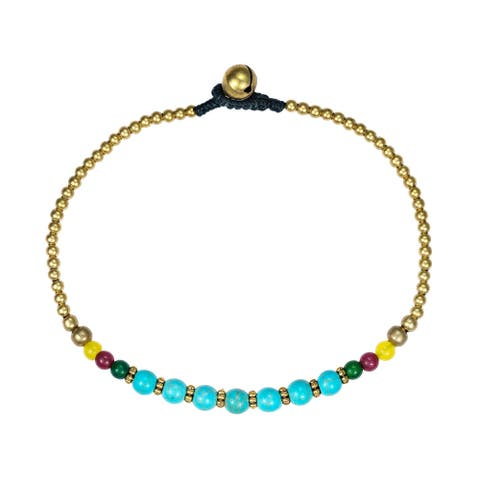 Handmade Tribal Round Brass Beads Link Charm Anklet (Thailand)