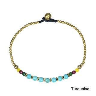 Tribal Round Brass Beads Link Charm Anklet (Thailand)