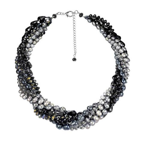 Handmade Twilight Intertwined Pearl and Crystal Multistrand Necklace (Thailand)