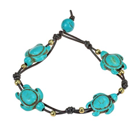 Handmade Adorable Swimming Sea Turtle Stones Leather Bracelet (Thailand)