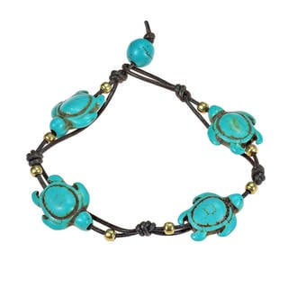 Handmade Adorable Swimming Sea Turtle Stones Leather Bracelet (Thailand)