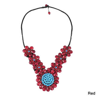 Handmade Enchanted Bloom Natural Stone Floral Necklace (Thailand)