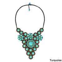 Handmade Elite Floral Attention Stone Mosaic Brass Necklace (Thailand)