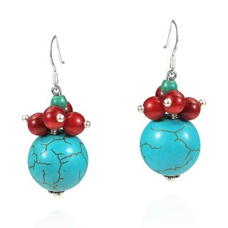Handmade Charming Round Stone Cluster .925 Silver Earrings (Thailand)