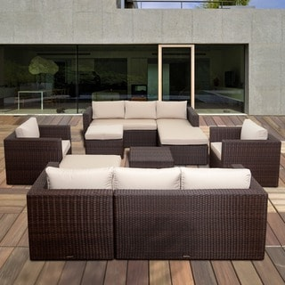 Atlantic Pescara 8-piece Brown Synthetic Wicker Sectional Set with SUNBRELLA Antique Biege Cushions