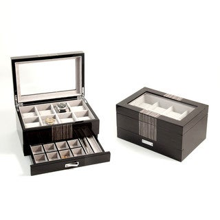 Bey Berk 'Raffi' High Lacquered Wenge Wood Finish 8-Watch Case and Accessory Box