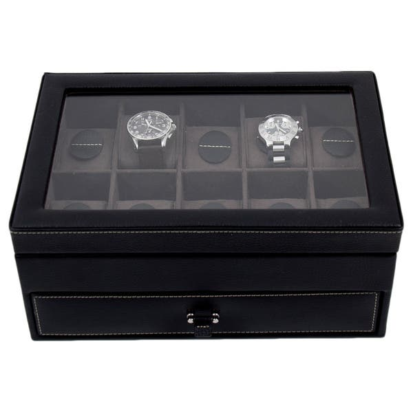 Bey Berk Alex Black Leather 10 Watch Case And Accessory Jewelry Box On Sale Overstock 10060230