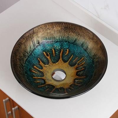 Elite 1507 Volcanic Pattern Tempered Glass Bathroom Vessel Sink