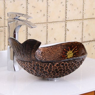 Elite Atlantic Whale Pattern Tempered Glass Bathroom Vessel Sink