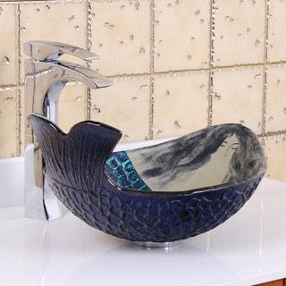 Elite Mermaid IVAN Tempered Glass Bathroom Vessel Sink