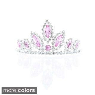 Kate Marie 'Ada' Rhinestone Crown Tiara Hair Pin (Option: Red)
