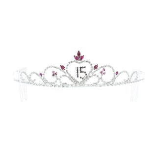 Kate Marie 'Joy' Sweet 15 Rhinestones Crown Tiara Headband with Hair Combs