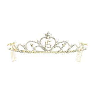 Kate Marie 'Joy' Sweet 15 Rhinestones Crown Tiara Headband with Hair Combs