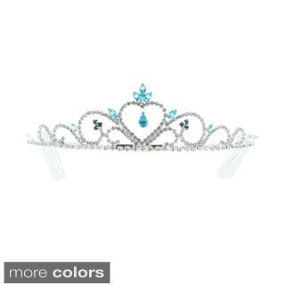 Kate Marie 'Mia' Rhinestones Crown Tiara Headband with Hair Combs (Option: Red)