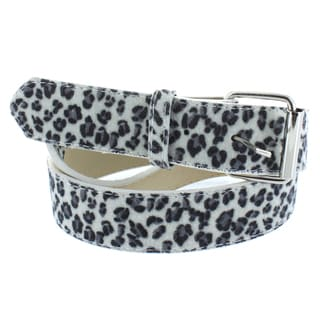 Faddism Women's Faux-Leather White Leopard Print Belt