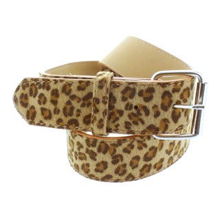 Faddism Women's Faux-Leather Brown Leopard Print Belt