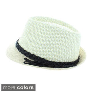 Faddism Cord Accent Fashion Fedora Hat