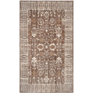 Safavieh Valencia Brown/ Beige Distressed Silky Polyester Rug (3' x 5')