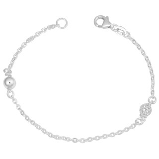 Fremada Sterling Silver Polished and Mesh Bead Station Bracelet (7.5 inches)