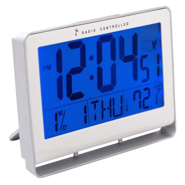 Digital Atomic Clock : Shop iwake lcd digital atomic alarm clock with blue back