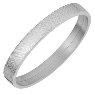 Fremada Rhodium Plated Sterling Silver Scribble Design Surface Bangle