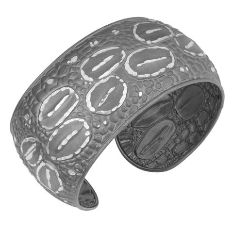 Fremada Black Plated Sterling Silver Textured Cuff Bangle