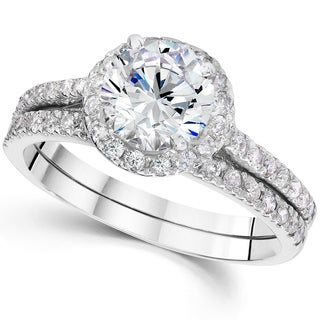 14k White Gold 2 4/5ct TDW Clarity Enhanced Diamond Halo Engagement Wedding Ring Set