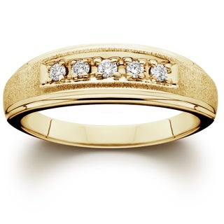 14K Yellow Gold 1/ 6ct TDW Men's Diamond Wedding Ring (I-J/ I2-I3)