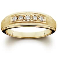 14K Yellow Gold 1/ 6ct TDW Men's Diamond Wedding Ring