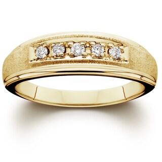 14K Yellow Gold 1/ 6ct TDW Men's Diamond Wedding Ring