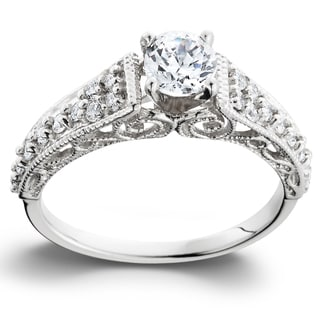 14k White Gold 3/5TDW Vintage Diamond Engagement Ring