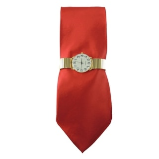 Men's Watch Set Gold Easy to Read Stretch Band Watch with Steven Harris Solid Red Necktie