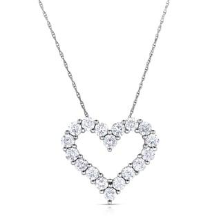Eloquence 14k White Gold, 1ct TDW Diamond Heart Pendant (H-I, I2-I3)