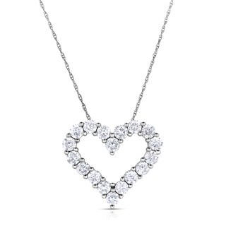 Eloquence 14k White Gold, 1ct TDW Diamond Heart Pendant