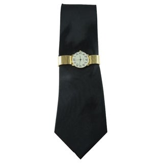 Men's Watch and Novelty Tie Gift Set Gold Stretch Band Watch and Steven Harris Solid Black Necktie Gift Set
