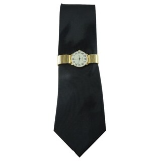 Men's Watch Set Solid Black Tie Gold Stretch Band Watch
