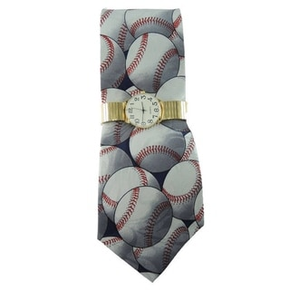 Men's Novelty Tie and Watch Gift Set with Gold Stretch Band Watch and Steven Harris Sporty Baseball Necktie
