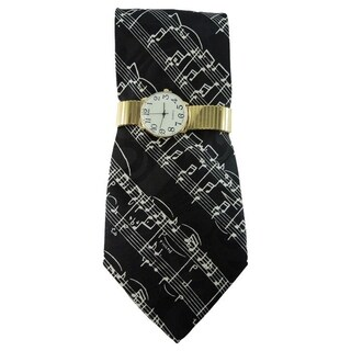 Men's Watch and Novelty Tie Gift Set Gold Stretch Band Watch and Steven Harris Musical Note Necktie Gift Set