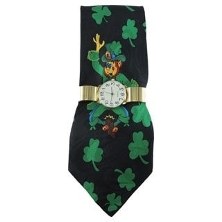 Men's Watch Set Gold Easy to Read Stretch Band Watch with Steven Harris St. Patrick's Day Necktie