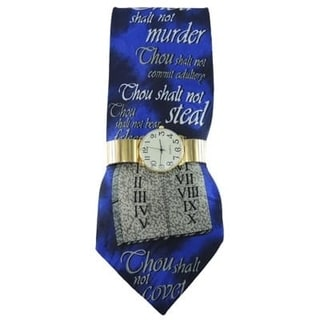 Men's Watch and Tie Gift Set Gold Stretch Band Watch and Steven Harris 10 Commandments Christian Necktie Gift Set