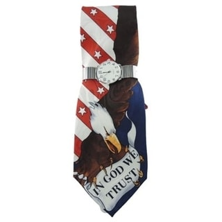 Men's Silver Easy Read Stretch Band Watch with 'In God We Trust' American Flag and Eagle Necktie and Watch Set