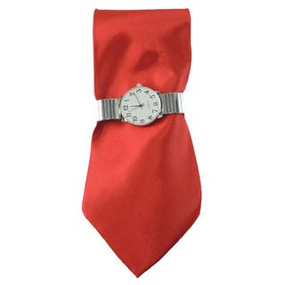 Men's Watch Set Solid Classic Red Necktie Silver Stretch Band Easy to Read Dial Watch