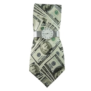 Men's Watch and Tie Set Silver Stretch Band Watch with Steven Harris Novelty Tie Money Print Necktie