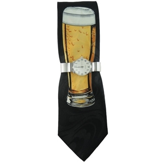 Men's Watch and Tie Gift Set Silver Stretch Band Watch with Steven Harris Beer Mug Necktie Gift Set