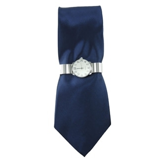 Men's Watch and Tie Set Silver Stretch Band Watch with Solid Navy Blue Necktie